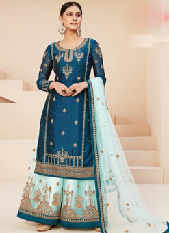Beautiful Blue Satin Embroidered Work Designer Palazzo Suit