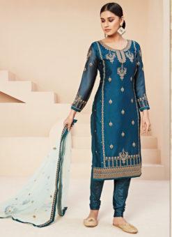 Alluring Blue Satin Embroidered Work Designer Churidar Suit