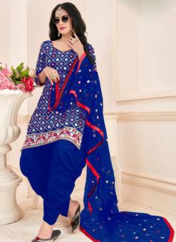 Elegant Blue Cotton Mirror Work Designer Patiyala Suit