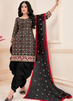 Lovley Black Cotton Mirror Work Designer Patiyala Suit