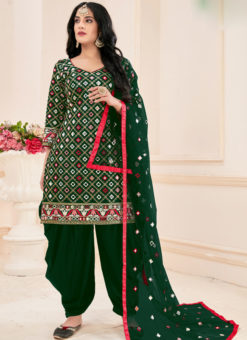 Amazing Green Cotton Mirror Work Designer Patiyala Suit