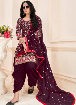 Wonderful Purple Cotton Mirror Work Designer Patiyala Suit