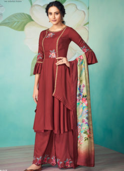 Lovely Maroon Satin Embroidered Work Party Wear Designer Kurti With Bottom