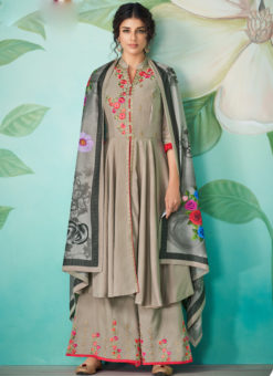 Graceful Grey Satin Embroidered Work Party Wear Designer Kurti With Bottom