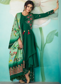Elegant Green Satin Embroidered Work Designer Kurti With Bottom