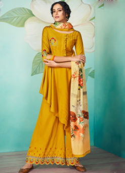 Jazzy Yellow Satin Embroidered Work Designer Kurti With Bottom