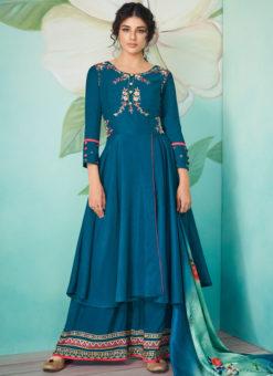 Alluring Blue Satin Embroidered Work Designer Kurti With Bottom