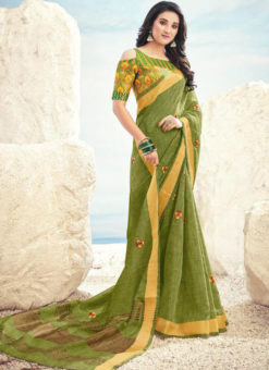 Green Cotton Zari Weaving Designer Saree