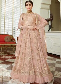 Elegant Peach Net Designer Embroidered Work Party Wear Anarkali Suit