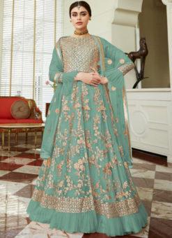 Charming Lavender Net Embroidered Work Designer Anarkali Suit