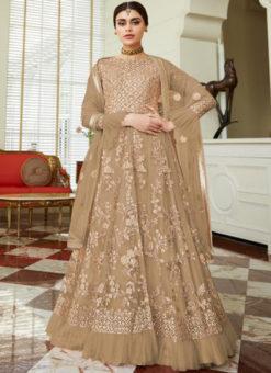 Alluring Brown Net Embroidered Work Designer Anarkali Suit