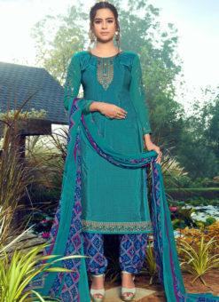 Awesome Sea Green Crepe Embroidered Work Designer Patiyala Suit