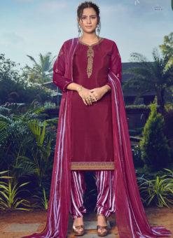 Opulent Magenta Crepe Embroidered Work Designer Patiyala Suit