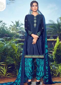 Alluring Blue Crepe Embroidered Work Designer Patiyala Suit