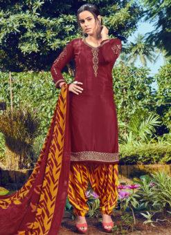 Jazzy Maroon Crepe Embroidered Work Designer Patiyala Suit