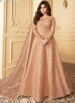 Winsome Peach Net Embroidered Work Designer Anarkali Suit