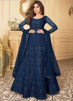 Awesome Blue Net Embroidered Work Designer Anarkali Suit
