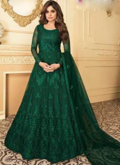 Luxurious Green Net Embroidered Work Designer Anarkali Suit