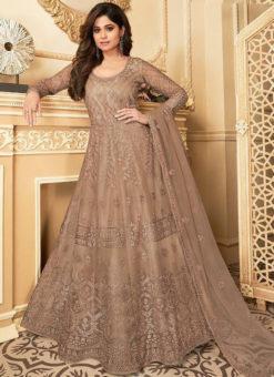 Lovely Beige Net Embroidered Work Designer Anarkali Suit