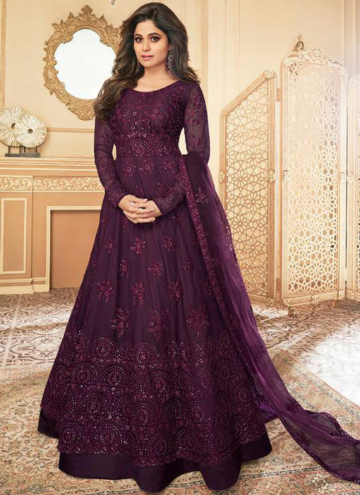 Excellent Falsa Net Embroidered Work Designer Anarkali Suit