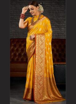 Yellow Silk Zari Weaving Wedding Wear Designer Saree