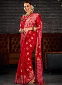 Red Silk Zari Weaving Wedding Wear Designer Saree