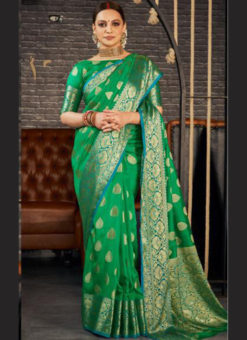 Green Silk Zari Weaving Wedding Wear Designer Saree