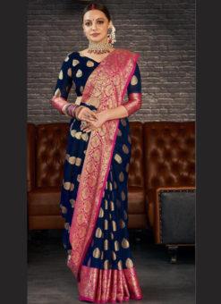 Navy Blue Silk Zari Weaving Wedding Wear Designer Saree