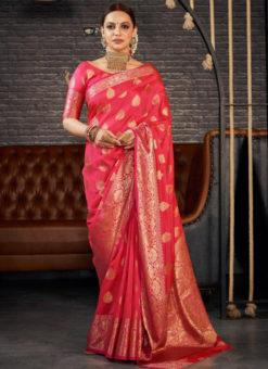Pink Silk Zari Weaving Wedding Wear Designer Saree