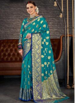 Rama Silk Zari Weaving Wedding Wear Designer Saree