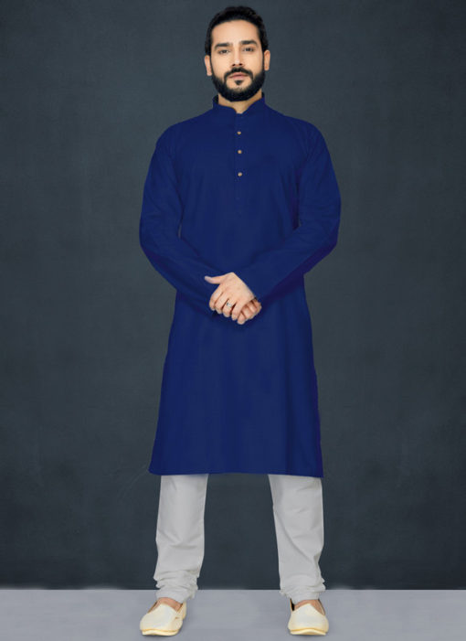 Navy Blue Poly Cotton Casual Wear Traditional Kurta Pajama