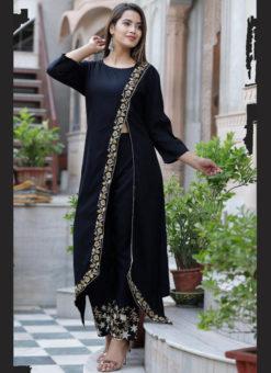 Excellent Black Rayon Embroidered Work Designer Kurti With Bottom