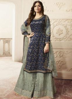 Partywear Designer Embroidery Blue Dola Jaquard Plazzo Suit