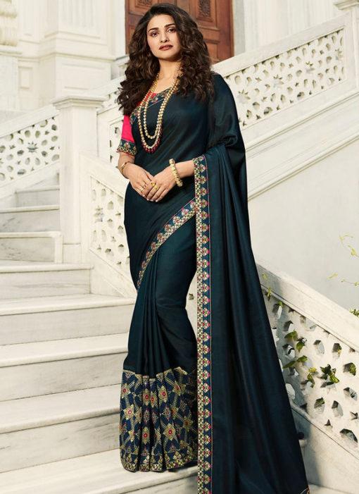 Wonderful Dark Morpich  Satin Lace Border Partywear Fancy Designer Saree