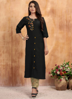 Amazing Black Maslin Cotton Embroidered Work Casual Wear Kurti With Bottom