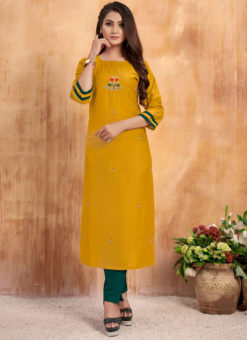 Charming Yellow Maslin Cotton Embroidered Work Casual Wear Kurti With Bottom