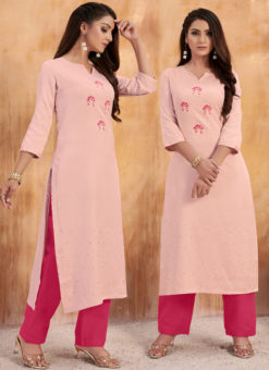 Elegant Pink Maslin Cotton Embroidered Work Casual Wear Kurti With Bottom