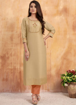 Lovely Beige Maslin Cotton Embroidered Work Casual Wear Kurti With Bottom