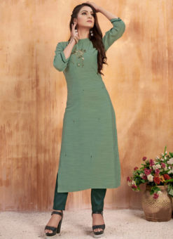 Graceful Green Maslin Cotton Embroidered Work Casual Wear Kurti With Bottom