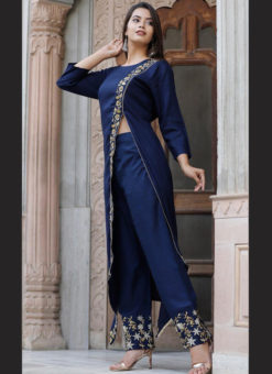 Charming Blue Rayon Embroidered Work Designer Kurti With Bottom