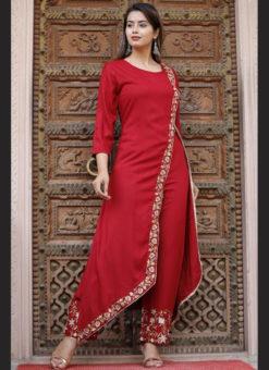 Lavish Red Rayon Embroidered Work Designer Kurti With Bottom
