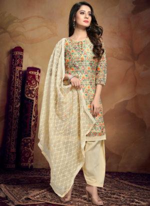 Off White Chanderi Silk Kalamkari Print Designer Salwar Suit