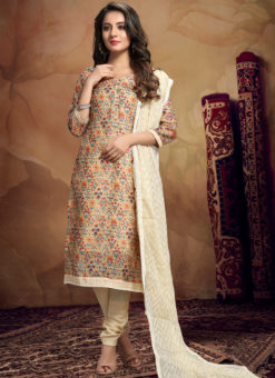 Shaded Orange Chanderi Silk Kalamkari Print Designer Sawlar Suit