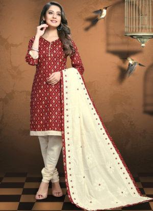 Maroon Cotton Patola Print Party Wear Designer Salwar Suit