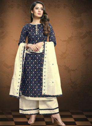 Blue Cotton Patola Print Party Wear Designer Salwar Suit