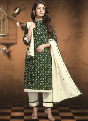 Green Cotton Patola Print Party Wear Designer Salwar Suit