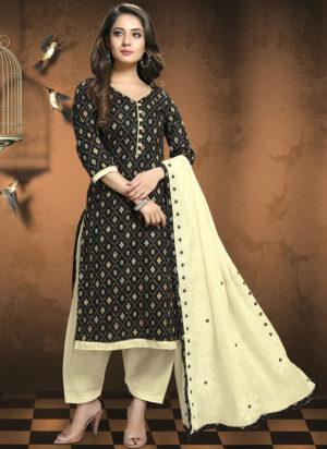 Black Cotton Patola Print Party Wear Designer Salwar Suit
