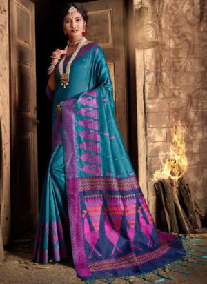 Blue Silk Thread Weaving Designer Traditional Saree