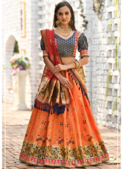 Kessi Peafowl Orange Banarasi Silk Resham Work Designer Lehenga Choli