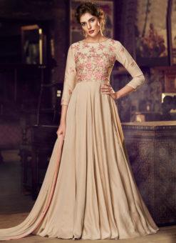 Beige Satin Embroidered Work Floor Length Designer Salwar Suit